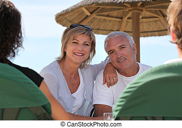 Couple in a beach bar