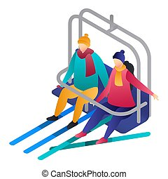 Couple in a cable car icon, isometric style