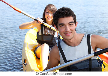 Couple in a canoe