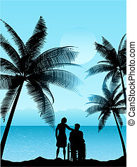 couple in a tropical landscape - Silhouette of a man in a...