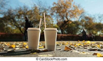 Couple in autumn city park