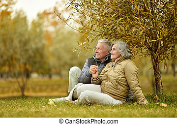 Couple in autumn park - Happy mature couple in the autumn...