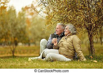 Couple in autumn park - Happy mature couple in the autumn ...