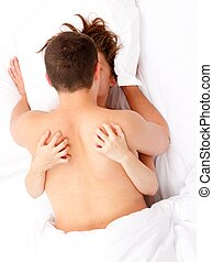 Couple in bed caressing each other - Couple caressing each...