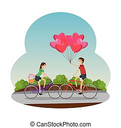 couple in bicycle traveling on the road