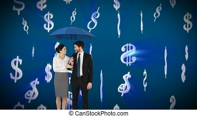 Digital animation of a couple wearing corporate attire holding an umbrella while it rains dollar signs
