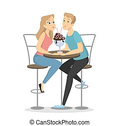 Couple in cafe.