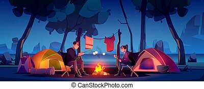 Summer camp with couple, tent and campfire at night. Vector cartoon landscape of two people in natural parkland, countryside with lake and mountains on background. Picnic on river beach
