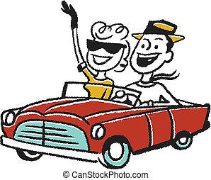 Couple in convertible car