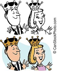 A cartoon of a man and a woman wearing royal crowns.