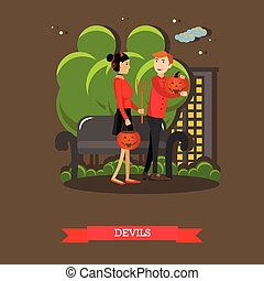 Couple in devils costume. Happy halloween holiday concept poster. Vector illustration in flat style design
