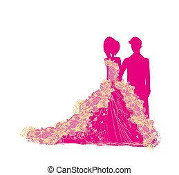 couple in elegant dresses, isolated characters