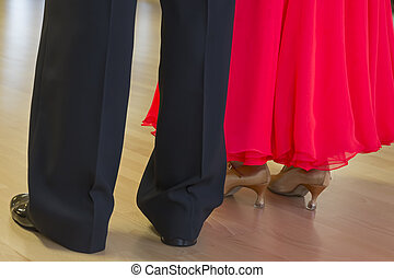 Couple in elegant outfit waiting to dance