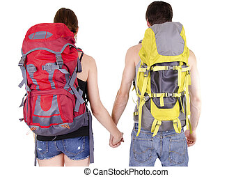 Couple in expedition - Unrecognizable couple in expedition,...