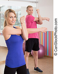 Couple in fitness club