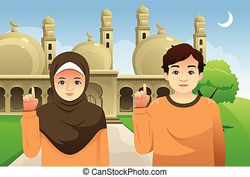 Couple in Front of a Mosque Illustration