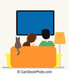 Couple in front of tv