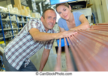 couple in hardware store