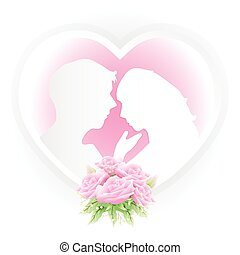 Couple in heart frame with pink roses bouquet paper art style