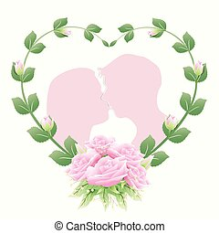 Couple in heart frame with rose ivy and pink roses bouquet
