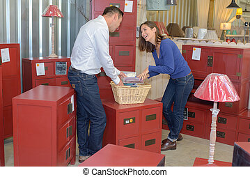 Couple in home furnishings store