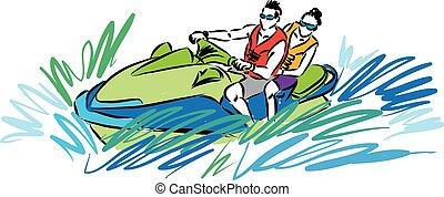 couple in jetski illustration