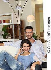 Couple in living-room