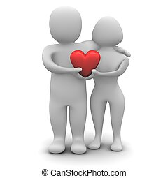 Couple in love. 3d rendered illustration isolated on white.