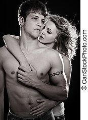 Couple in love - A shot of a man and a woman in love in...