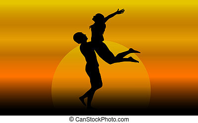 couple in love at sunset. vector illustration