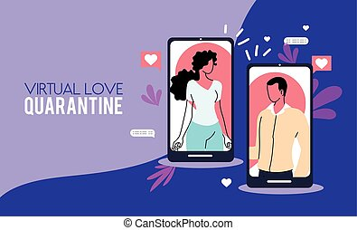 couple in love communicating on devices screen
