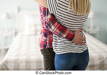 Couple in love cuddling and hugging
