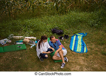 Couple in love enjoying picnic time
