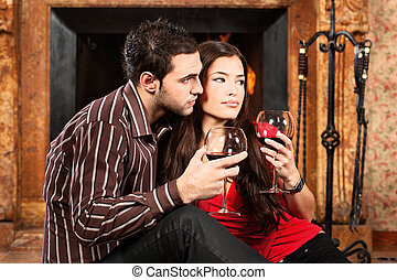Couple in love enjoying wine