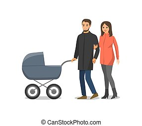 Couple in Love Family with Pram Isolated Vector