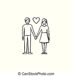 Couple in love hand drawn sketch icon.