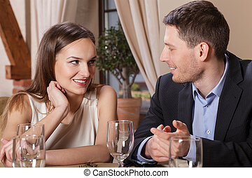 Couple in love having dinner