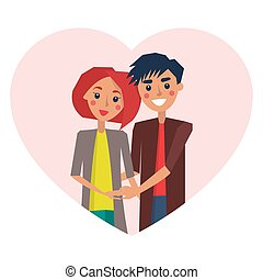Couple in Love Heart Image Vector Illustration