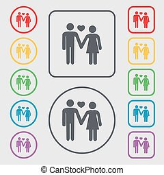 couple in love icon sign. symbol on the Round and square buttons with frame. Vector