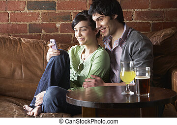Couple in love in Cafe