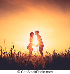 couple in love in the field