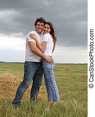 Couple in love in the summer field