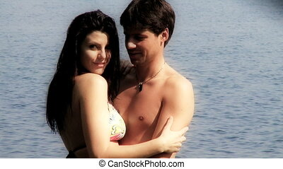 Couple in love in vacation