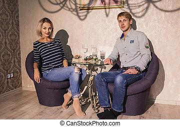 Couple in love indoor