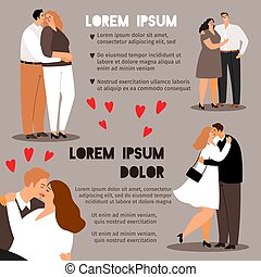 Couple in love info poster template, vector illustration