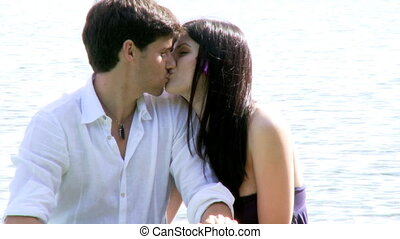 Couple in love kissing in vacation