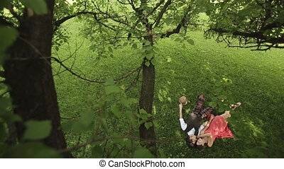 Couple in Love Lies Under the Tree 3