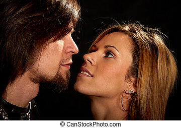 Couple in love looking deeply into each others eyes