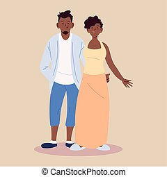 couple in love, man and woman afro embracing each other affectionately