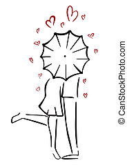 Couple in love - Man and woman in love behind umbrella